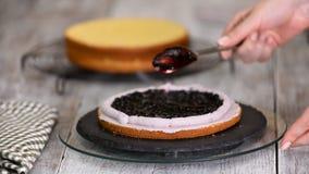 Facendo e decorando i dolci della pasticceria con i mirtilli freschi Decorazione della crema con una siringa della confetteria In video d archivio