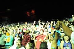 Facendo festa sotto le stelle al festival globale 2016 di ballo fotografie stock libere da diritti