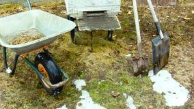 Facendo il giardinaggio nella primavera stock footage