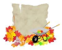 Facendo il giardinaggio nelle informazioni di autunno isolate Immagine Stock