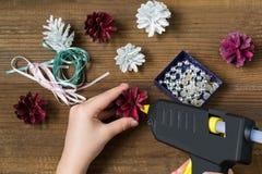 Facendo le decorazioni di Natale dalle pigne Punto 4 Fotografia Stock