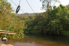 Facendo scorrere lo zip allini in un parco di avventura, Tailandia Fotografia Stock Libera da Diritti