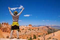 Facendo un'escursione in canyon di Bryce Immagini Stock Libere da Diritti