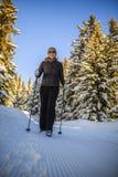 Facendo un'escursione con i pali di camminata del nordico sul percorso fotografia stock libera da diritti