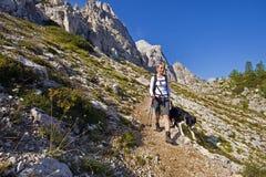 Facendo un'escursione con il cane Immagine Stock Libera da Diritti