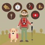 Facendo un'escursione con il cane illustrazione di stock