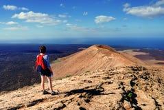 Facendo un'escursione a Lanzarote Immagini Stock Libere da Diritti