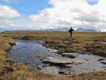 Facendo un'escursione in Lapponia Fotografia Stock