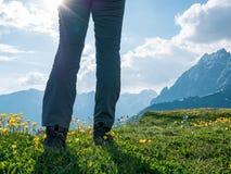 Facendo un'escursione in montagne Immagine Stock