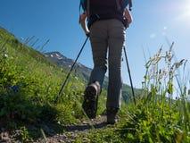 Facendo un'escursione in montagne Fotografia Stock