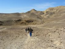 Facendo un'escursione nel deserto di Judean Fotografie Stock