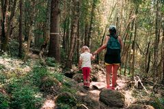 Facendo un'escursione nel legno La madre e la figlia stanno camminando su un percorso immagini stock libere da diritti