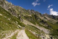 Facendo un'escursione nel massiccio di Mont Blanc immagini stock