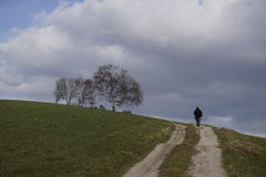 Facendo un'escursione nel paesaggio rurale Immagini Stock Libere da Diritti