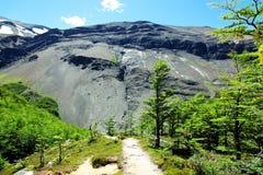 Facendo un'escursione nel parco nazionale di Torres del Paine, il Cile Immagini Stock