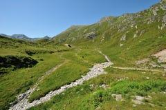 Facendo un'escursione nelle alpi soleggiate Fotografia Stock Libera da Diritti