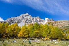 Facendo un'escursione nelle alpi, stagione variopinta di autunno Fotografia Stock