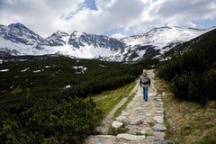 Facendo un'escursione nelle montagne fotografia stock libera da diritti