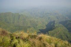 Facendo un'escursione nelle montagne di Simien, l'Etiopia Fotografie Stock