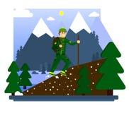 Facendo un'escursione nelle montagne Un turista felice conquista la cima della montagna Giro di camminata Illustrazione di vettor illustrazione di stock