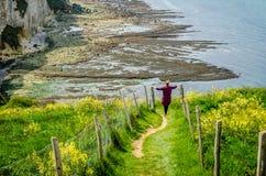 Facendo un'escursione in Normandie GR21 Etretat Fotografie Stock Libere da Diritti