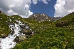 Facendo un'escursione su Alp Flix Immagini Stock
