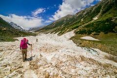 Facendo un'escursione sulla montagna di Sonamarg Fotografia Stock Libera da Diritti