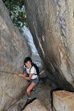 Facendo un'escursione in Torrent de Pareis Canyon Immagine Stock