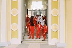 Facendo un film circa i giochi olimpici a Mosca nel 1980 - equipaggi la condizione dello sportivo Fotografia Stock