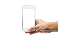 Facendo uso dello smartphone isolato fotografia stock