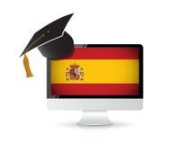 Facendo uso di tecnologia per imparare la lingua spagnola. Fotografia Stock Libera da Diritti