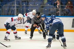 On faceoff on hockey game. Dynamo Moscow vs Slovan Bratislava on Russia KHL championship in VTB Arena Ice Palace Moscow, Russia. Slovan won 5: 3 Stock Photography