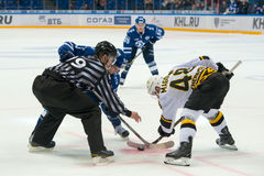 On faceoff on hockey game. MOSCOW, RUSSIA - NOVEMBER 11, 2016: On faceoff on hockey game Dynamo Moscow vs Severstal Perm on Russia KHL championship in VTB Arena Stock Image