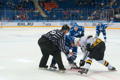 On faceoff on hockey game. MOSCOW, RUSSIA - NOVEMBER 11, 2016: On faceoff on hockey game Dynamo Moscow vs Severstal Perm on Russia KHL championship in VTB Arena Stock Photos