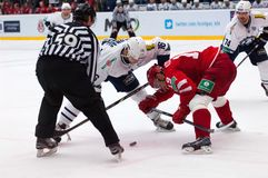 Faceoff. MOSCOW - JANUARY 10: R. Kosual (19) and M. Glumac (16) on faceoff on hockey game Vityaz vs Medvezchak on Russian KHL premier hockey league Championship Royalty Free Stock Photo
