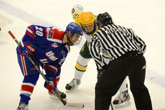 Faceoff in NCAA Hockey Game Stock Photography
