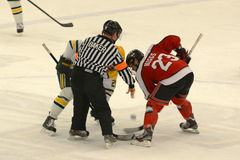 Faceoff in NCAA Hockey Game Stock Image