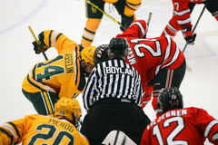 Faceoff in NCAA Hockey Game Royalty Free Stock Photo