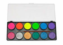 Facepaint palette. Over white background royalty free stock photography