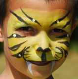 Facepainted Tiger Stockbild