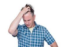 Facepalm mężczyzna, portret samiec w koszulowej epickiej fail emoci, odizolowywającej na białym tle zdjęcia royalty free