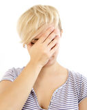 Facepalm. Young woman with hand on her face isolated on white, facepalm Stock Photos