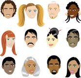 Faces 1 dos povos ilustração do vetor
