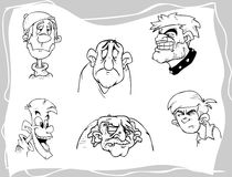 Faces. Cartoon faces Royalty Free Stock Images