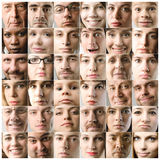 Faces. Composition of faces of different people stock photos