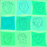 Faces. Vector design of various outline cartoon faces Royalty Free Stock Photos