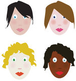 Faces. Four stylized funny different faces Royalty Free Stock Images
