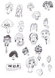 Faces. Different faces as separate characters drawn with black marker Royalty Free Stock Photos