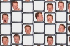Faces. Man showing different expressions in boxes Royalty Free Stock Images