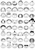 Faces. 64 different handdrawn smiling people Vector Illustration